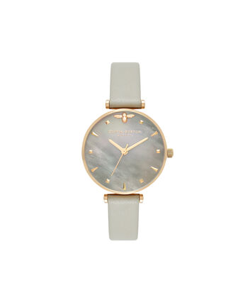 OLIVIA BURTON LONDON  Queen Bee Grey Mother of Pearl Grey & Gold OB16AM154 – Midi Dial Round in Gold and Grey - Front view