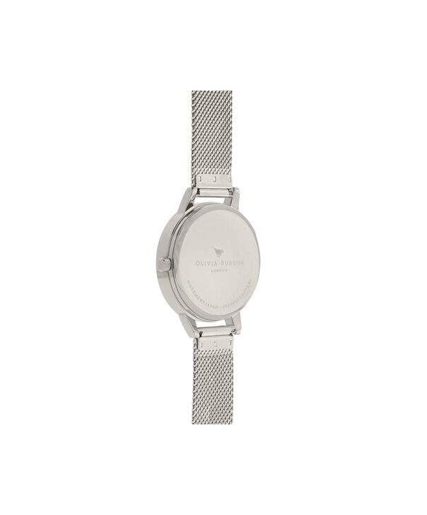 OLIVIA BURTON LONDON  3D Anemone Silver Mesh Watch OB16AN01 – Midi Dial Round in White and Silver - Back view