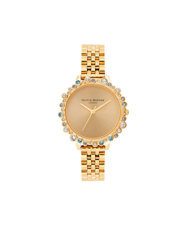 OLIVIA BURTON LONDON Limited Edition Bejewelled Case Watch, Gold BraceletOB16US30 – Bejewelled Case Watch - Front view