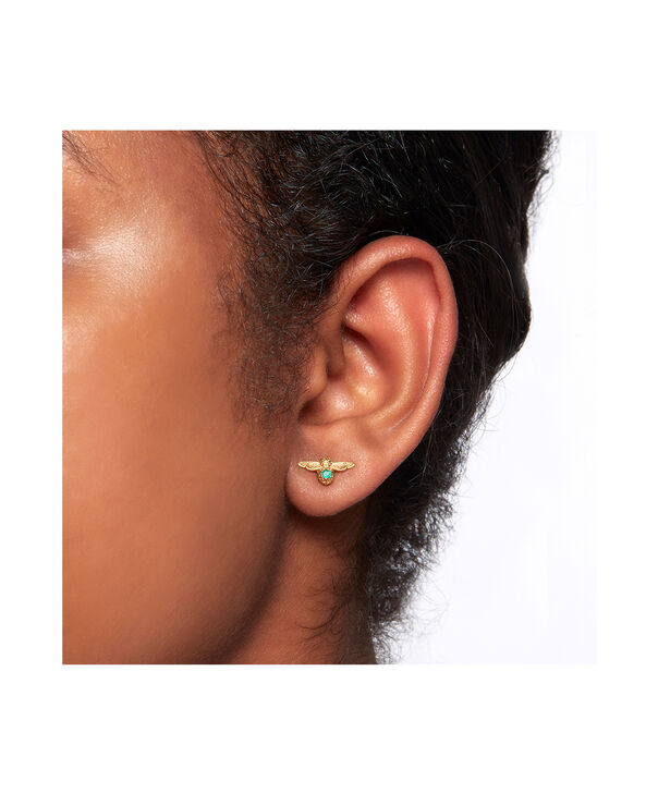 OLIVIA BURTON LONDON Celebration Bee Studs Gold & Green AgateOBJAME99 – Celebration Bee Studs Gold & Green Agate - Back view