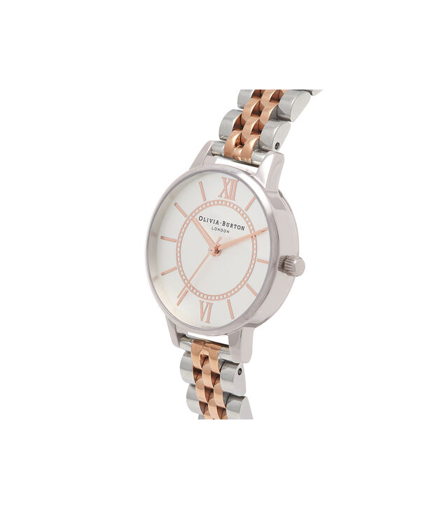 OLIVIA BURTON LONDON  Wonderland Bracelet Silver And Rose Gold Mix Watch OB15WD40 – Midi Dial in Silver and Rose Gold - Side view