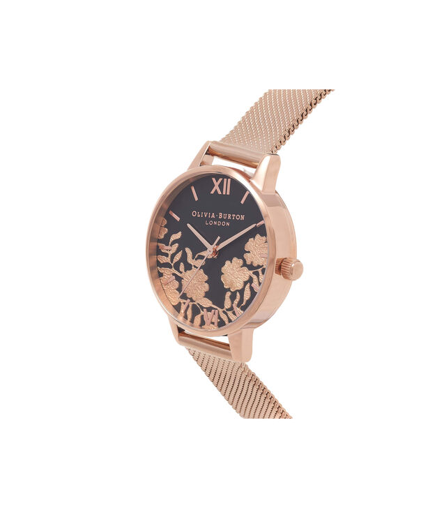 OLIVIA BURTON LONDON Lace Detail Black Dial & Rose Gold Mesh Watch OB16MV57 – Midi Dial in Black and Rose Gold - Side view