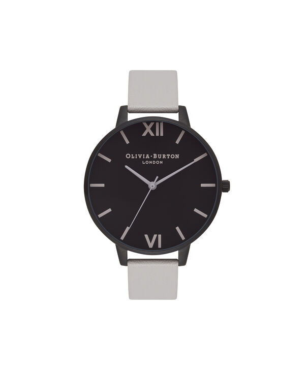 OLIVIA BURTON LONDON  After Dark Matte Black & Light Grey Watch OB16AD04 – Big Dial Round in Black and Grey - Front view