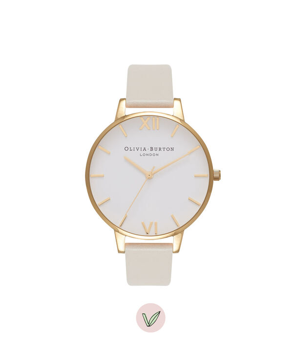 OLIVIA BURTON LONDON  Vegan Friendly Nude & Gold Watch OB16BDV03 – Big Dial Round in Gold and Nude - Front view
