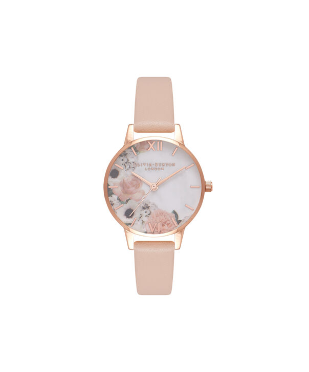OLIVIA BURTON LONDON  Marble Floral Rose Gold Watch  OB16MF03 – Midi Dial Round in Nude Peach and Rose Gold - Front view