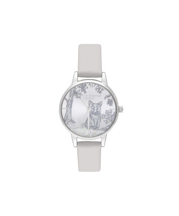 OLIVIA BURTON LONDON Snow Globe Arctic Fox Midi Blush & SilverOB16SG05 – Midi Dial in Blush and Silver - Front view