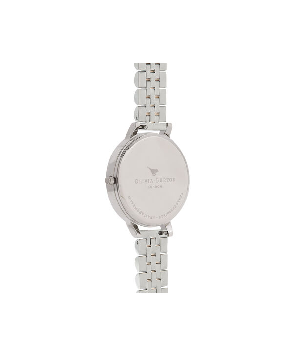 OLIVIA BURTON LONDON  Mother of Pearl White Bracelet, Gold & Silver OB16MOP05 – Big Dial Round in Gold and Silver - Back view
