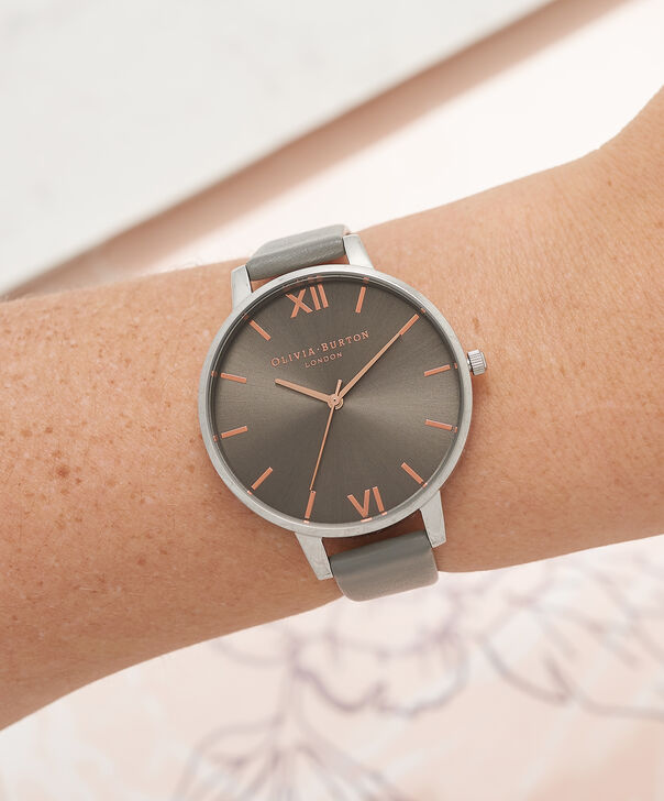 OLIVIA BURTON LONDON  Big Dial Grey And Rose Gold Watch OB16BD90 – Big Dial Round in Grey - Other view