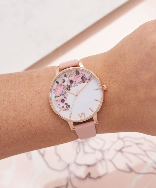 OLIVIA BURTON LONDON  Vegan Friendly Rose Sand & Rose Gold Watch OB16VE04 – Big Dial Round in Floral and Rose Sand - Other view