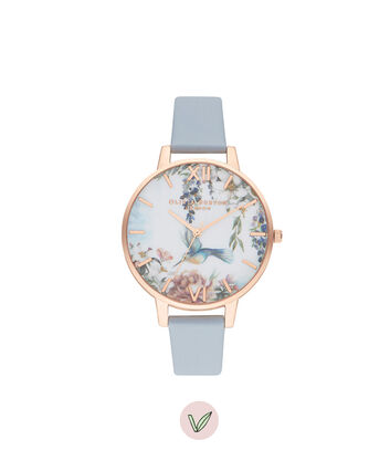 OLIVIA BURTON LONDON Painterly Prints Vegan Chalk Blue & Rose GoldOB16EG146 – Painterly Prints Vegan Chalk Blue & Rose Gold - Front view