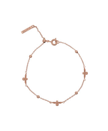OLIVIA BURTON LONDON  3D Bee & Ball Chain Bracelet Rose Gold OBJ16AMB19 – 3D Bee Chain Bracelet - Front view