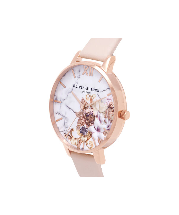 OLIVIA BURTON LONDON  Marble Floral Nude Peach & Rose Gold Watch OB16CS12 – Big Dial in White and Nude Peach - Side view