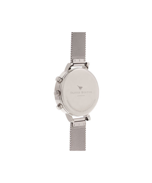 OLIVIA BURTON LONDON  Chrono Detail Rose Gold & Silver Mesh Watch OB16CG87 – Big Dial Round in White and Silver - Back view