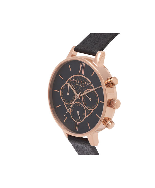 OLIVIA BURTON LONDON  Chrono Detail Dot Design Black And Rose Gold Watch OB15CG44 – Big Dial Round in Black - Back view