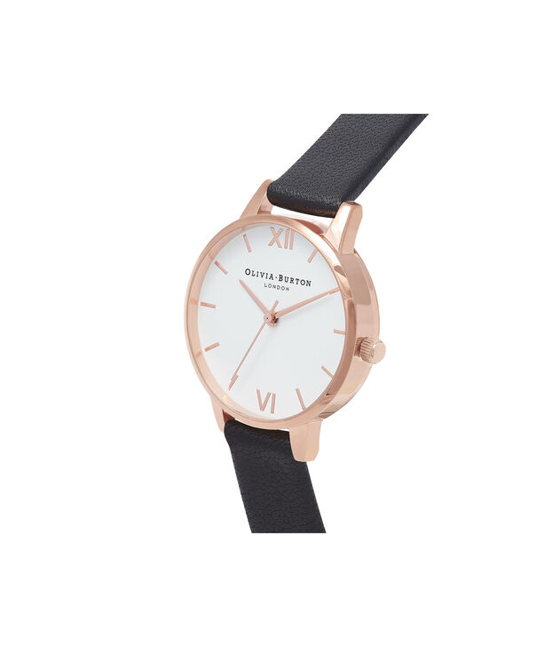 OLIVIA BURTON LONDON  White Dial Midi Black & Rose Gold Watch OB16MDW07 – Midi Dial Round in White and Black - Side view