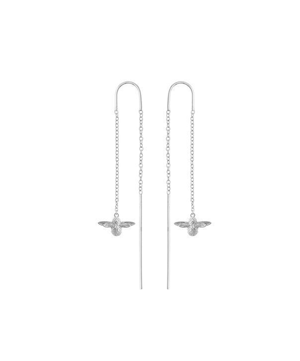 OLIVIA BURTON LONDON  3D Bee Threader Earrings Silver OBJ16AME14 – 3D Bee Chain Earrings - Front view