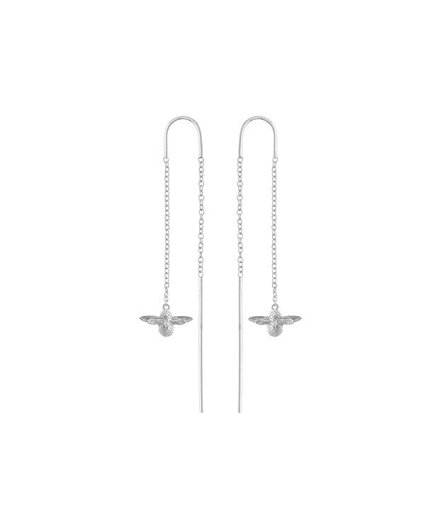 OLIVIA BURTON LONDON  3D Bee Threader Earrings Silver OBJ16AME14 – 3D Bee Chain Earrings - Front view