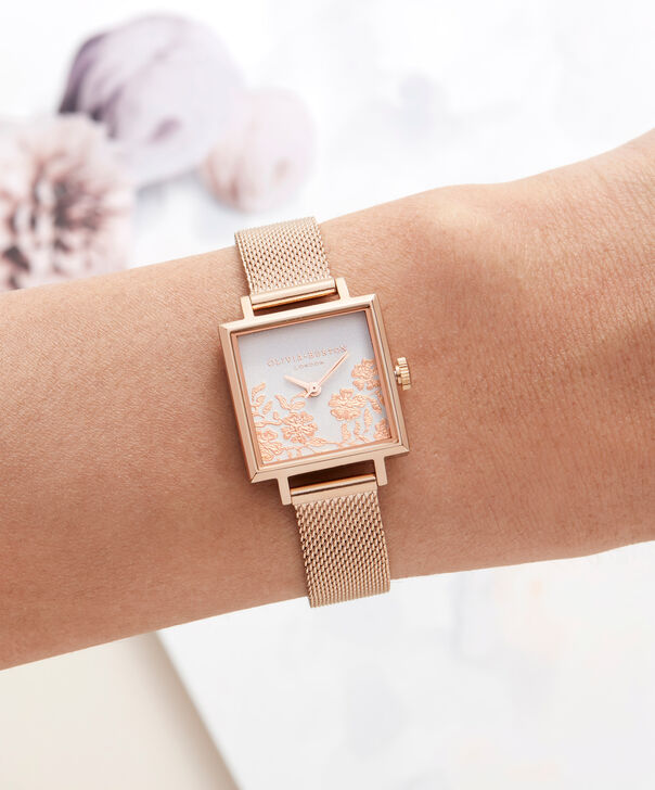 OLIVIA BURTON LONDON  Lace Detail Grey Lilac & Rose Gold Watch OB16MV78 – Midi Dial Square in Grey Lilac and Rose Gold - Other view