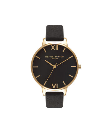 OLIVIA BURTON LONDON  Big Dial Black And Gold Watch OB15BD55 – Big Dial Round in Black - Front view