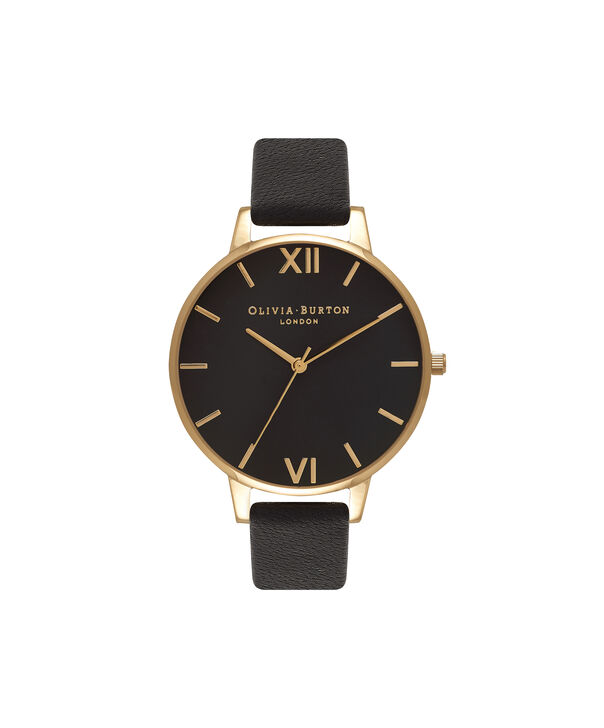 Ladies Big Dial Black And Gold Watch | Olivia Burton London