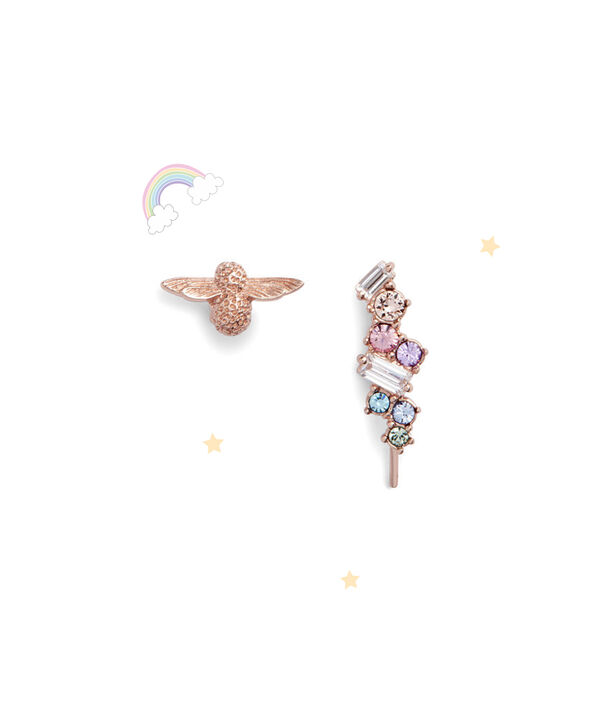 OLIVIA BURTON LONDON Rainbow Bee Crawler & Stud Rose GoldOBJAME125 – Earrings in Rose Gold - Front view