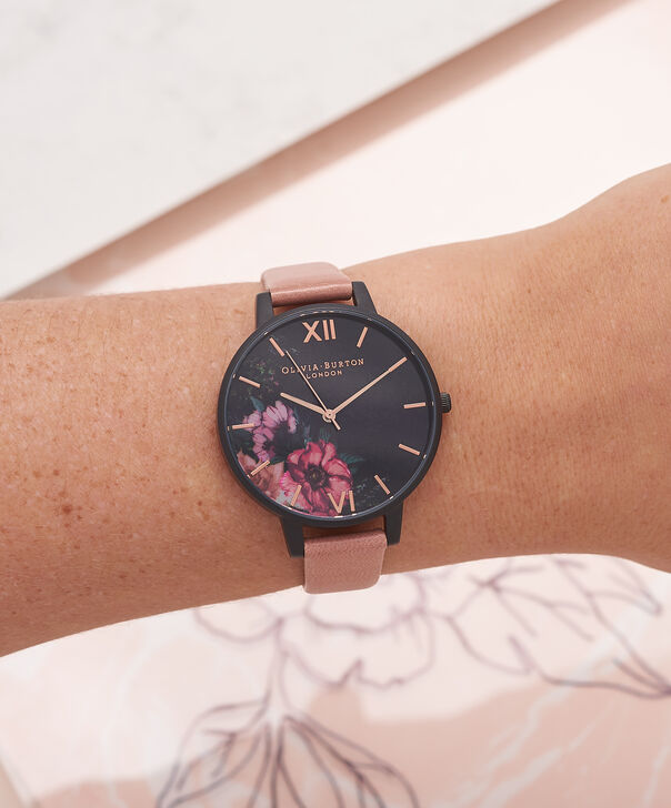 OLIVIA BURTON LONDON  After Dark Floral Matte Black Dial, Rose & Rose Gold Watch OB15FS60 – Big Dial Round in Floral and Rose - Other view