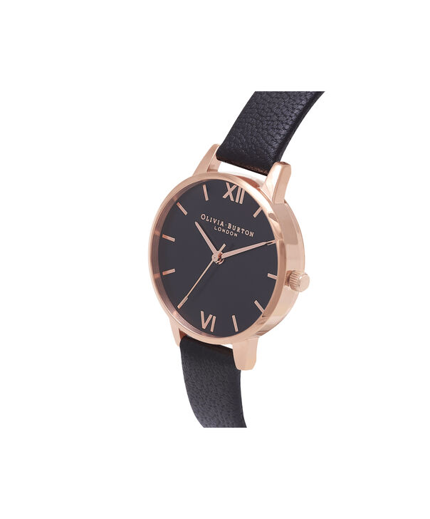 OLIVIA BURTON LONDON Midi Dial Black And Rose Gold WatchOB16MD83 – Midi Dial Round in Rose Gold and Black - Side view
