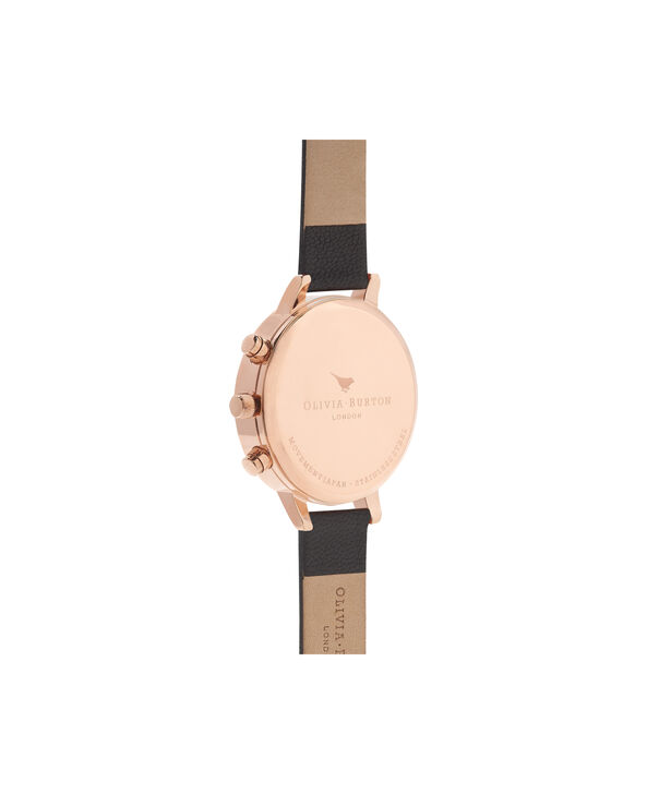 OLIVIA BURTON LONDON  Chrono Detail Dot Design Black And Rose Gold Watch OB15CG44 – Big Dial Round in Black - Side view
