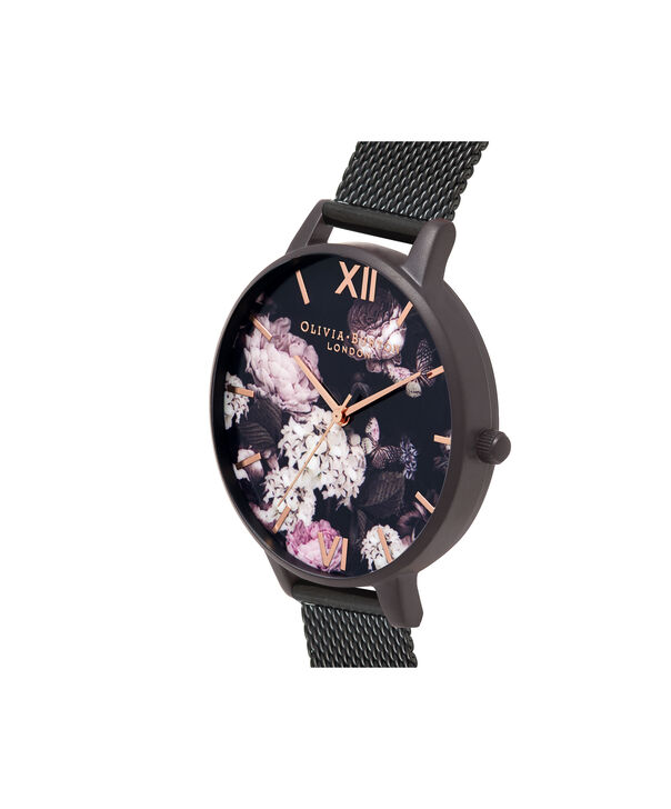 OLIVIA BURTON LONDON  Signature Florals IP Black Mesh OB16AD35 – Big Dial Round in Black and Rose Gold - Side view