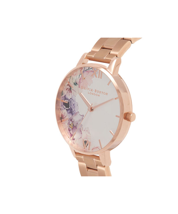 OLIVIA BURTON LONDON  Watercolour Florals Gold Bracelet Watch OB16PP38 – Midi Dial Round in White and Rose Gold - Side view