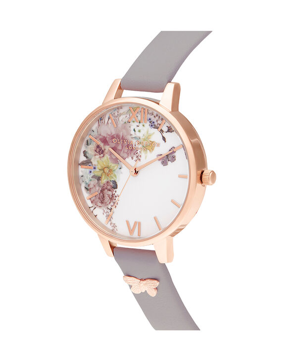 OLIVIA BURTON LONDON Enchanted Garden Demi Grey Lilac & Rose GoldOB16EG129 – Demi Dial In Grey And Rose Gold - Side view