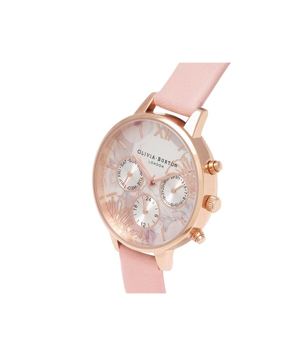 OLIVIA BURTON LONDON  Chrono Demi Dial Dusty Pink & Rose Gold OB16CGS07 – Demi Dial Round in Rose Gold and Pink - Side view