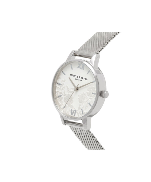 OLIVIA BURTON LONDON  Lace Detail Silver Mesh Watch OB16MV54 – Midi Dial Round in White and Silver - Side view