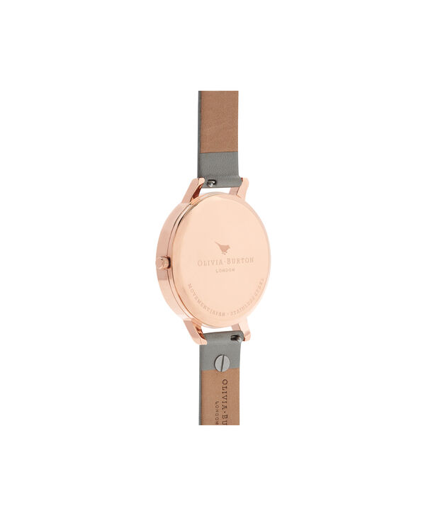 OLIVIA BURTON LONDON  Vintage Bow Stud Grey, Silver & Rose Gold Watch OB16VB06 – Big Dial Round in White and Grey - Back view