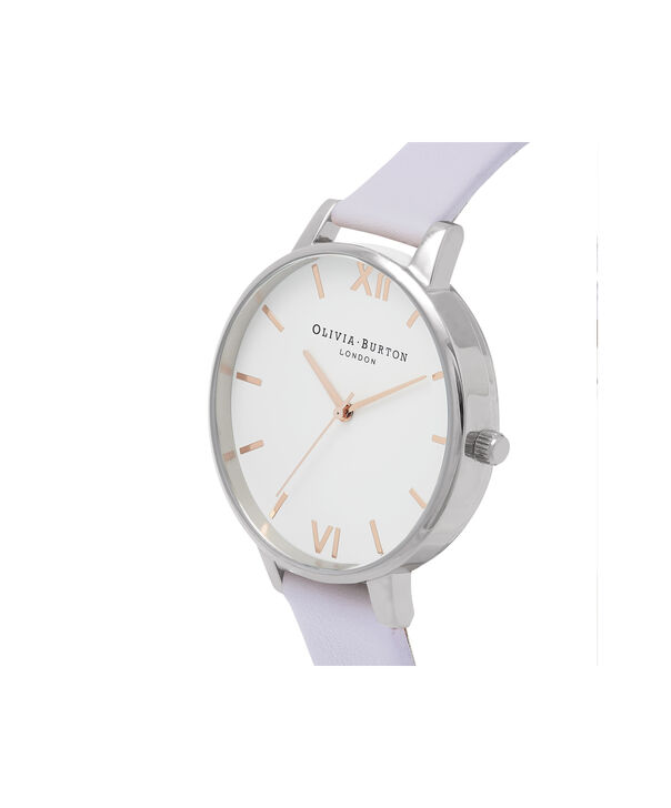 OLIVIA BURTON LONDON  White Dial Parma Violet, Rose Gold & Silver OB16BDW37 – Big Dial Round in Silver , Rose Gold and Parma Violet - Side view