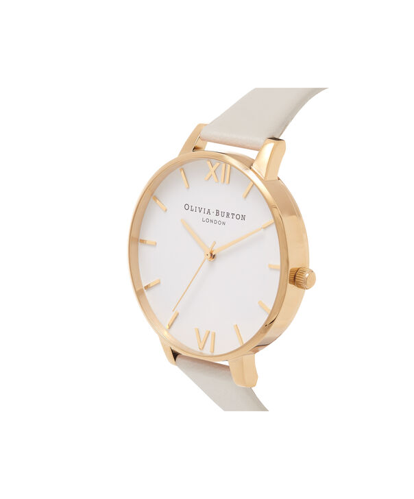OLIVIA BURTON LONDON  Vegan Friendly Nude & Gold Watch OB16BDV03 – Big Dial Round in Gold and Nude - Side view