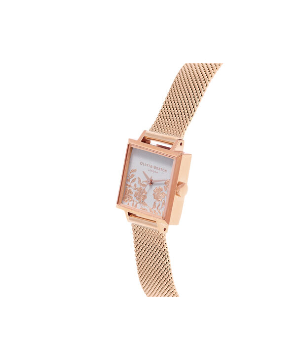 OLIVIA BURTON LONDON  Lace Detail Grey Lilac & Rose Gold Watch OB16MV78 – Midi Dial Square in Grey Lilac and Rose Gold - Side view