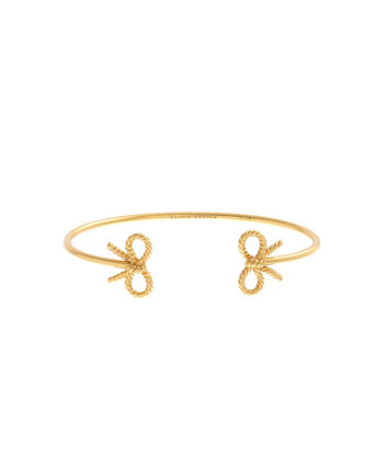 OLIVIA BURTON LONDON Vintage Bow Open Ended Bangle Gold OBJ16VBB16 – Vintage Bow Bangle - Front view