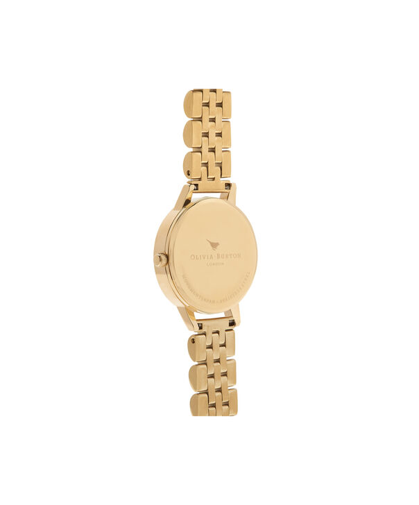 OLIVIA BURTON LONDON  Mother of Pearl White Bracelet, Gold OB16MOP01 – Midi Dial Round in Gold and Gold - Back view