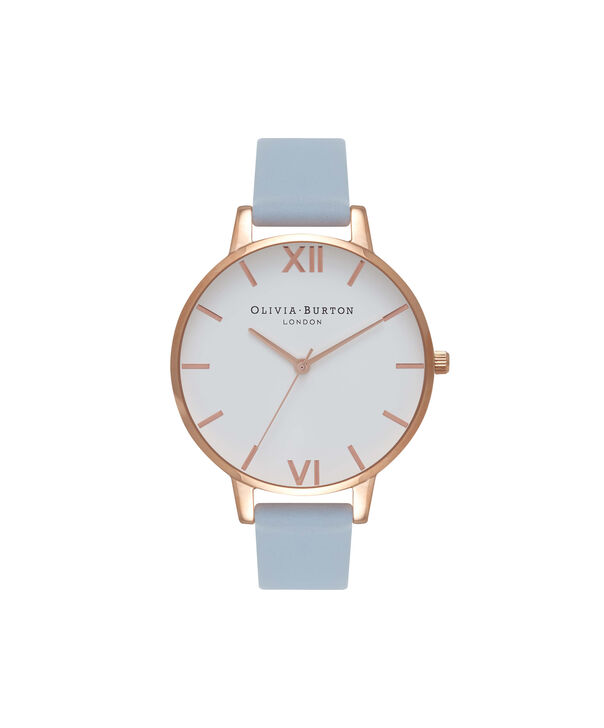 OLIVIA BURTON LONDON  Big Dial Blue & Rose Gold Watch OB16BDW18 – Big Dial Round in White and Chalk Blue - Front view