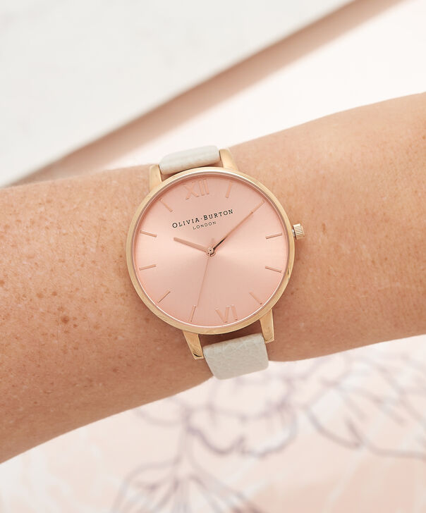 OLIVIA BURTON LONDON  Vegan Friendly Nude & Rose Gold Watch OB16BDV01 – Big Dial Round in Rose Gold and Nude - Other view