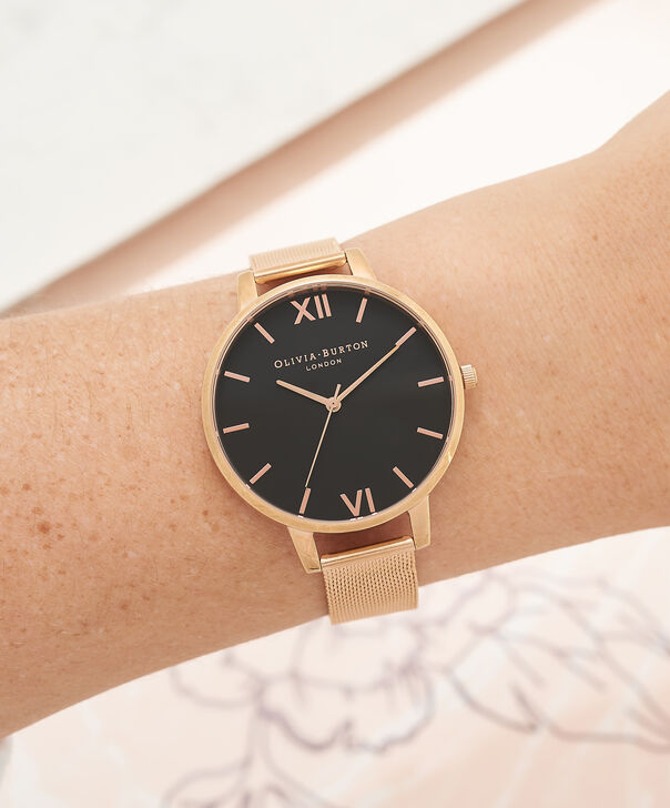OLIVIA BURTON LONDON  Black Dial & Rose Gold Mesh Watch OB16BD89 – Big Dial Round in Black and Rose Gold - Other view
