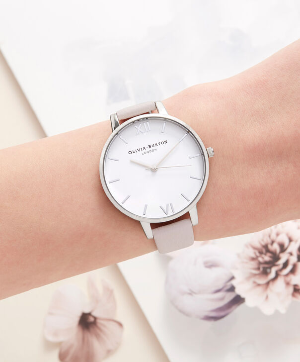 OLIVIA BURTON LONDON  White Dial Silver and Blossom Watch OB16BDW34 – Big Dial Round in White and Silver - Other view