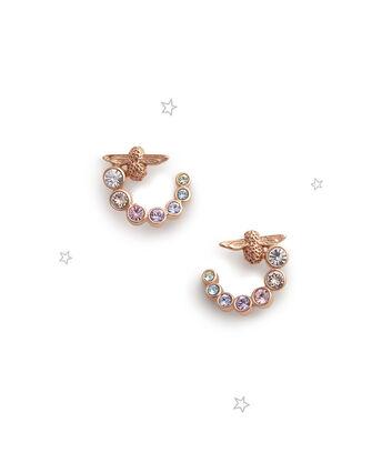 OLIVIA BURTON LONDON Rainbow Bee Swirl Hoop Earrings Rose GoldOBJAME126 – Earrings in Rose Gold - Front view