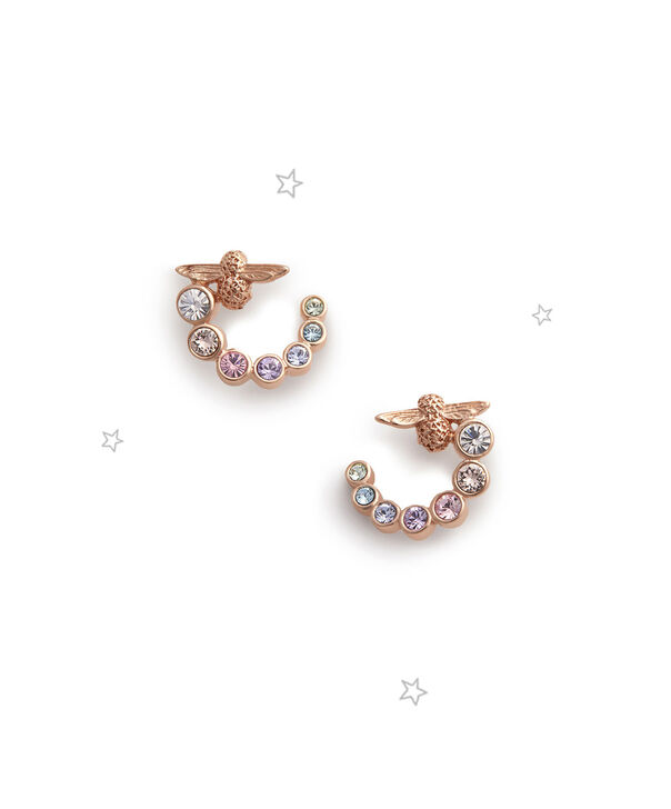 OLIVIA BURTON LONDON Rainbow Bee Swirl Hoop Earrings Rose GoldOBJAME126 – Earrings in Rose Gold - Front view
