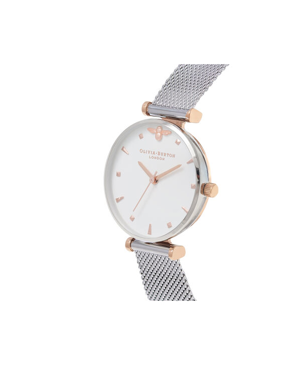 OLIVIA BURTON LONDON  Queen Bee Silver Mesh Watch OB16AM140 – Midi Dial Round in White and Rose Gold - Side view