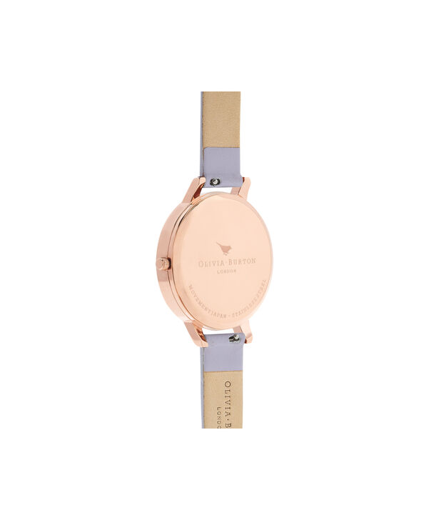 OLIVIA BURTON LONDON  Enchanted Garden Parma Violet & Rose Gold OB16EG110 – Big Dial Round in Rose Gold and Parma Violet - Back view