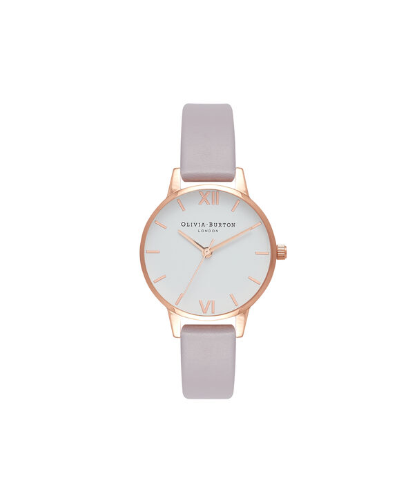 OLIVIA BURTON LONDON  Midi Dial Grey Lilac & Rose Gold Watch OB16MDW32 – Midi Dial Round in White and Grey Lilac - Front view