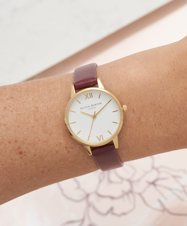OLIVIA BURTON LONDON  Midi White Dial Burgundy & Gold Watch  OB16MDW31 – Midi Dial Round in Rose Gold, White and Burgundy - Other view