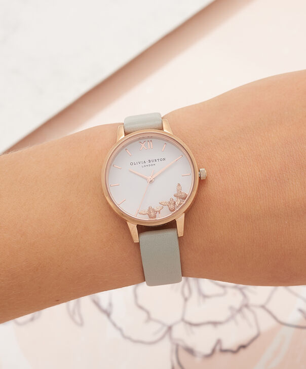 OLIVIA BURTON LONDON Busy Bees Grey & Rose Gold Watch OB16CH03 – Midi Dial Round in White and Grey - Other view